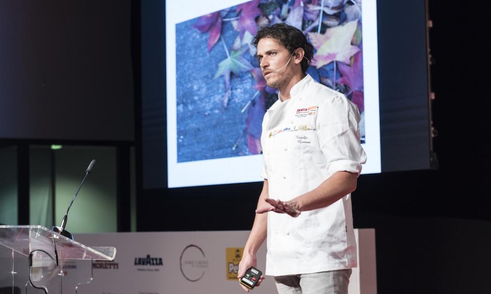 Rodolfo Guzman, chef at restaurant Boragòin Santiago del Chile, fourth in the World's 50 Best Latina Americaduring his lesson at Identità Milano(photo by Brambilla/Serrani)