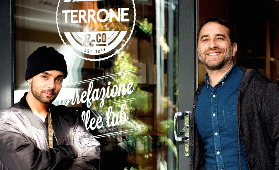 Terrone, well known, independent coffee roasters in London (Leo, left and Edy, right)