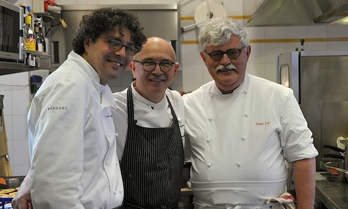 "Chefs Fabio Barbaglini, Gianni Sarzano of Bivio in Quinto Vercellese, tel. +39.0161.274131, and Breton Jacques Thorel, for a long time at the helm of the Auberge Bretonne in La Roche-Bernard, in North-West France. They met in Sarzano's home for a memorable lunch called ""When a lobster meets a paddy field """