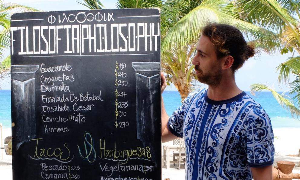 Milanese Simone Merati is chef at restaurants Filosofia and Ambrosia, inside hotel Casa Malca in Tulum, a popular destination in Yucatan, Mexico (photos by Tokyo Cervigni)