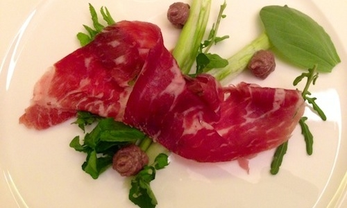 Bresaola, wild herbs and alosa agone paté, one of the new dishes in Kitchen's menu, part of the Grand Hotel di Como, tel. +39.031.5160460, Paolo Lopriore's new home. The 40 year-old chef from Appiano Gentile is back after 10 years at Il Canto della Certosa di Maggiano, Siena