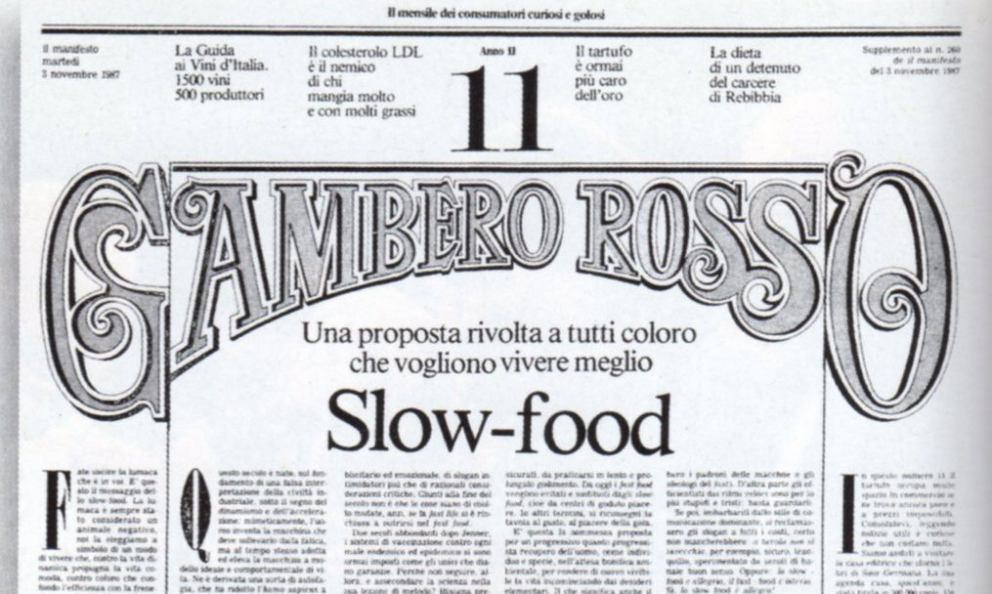 The Slow-food manifesto published on the 3rd November 1987 in Gambero Rosso, with a snail designed by Gianni Sassi