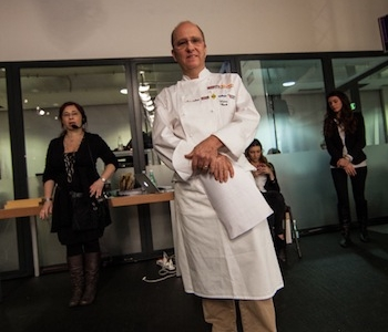 Heinz Beck on stage with pastry-chef Giuseppe Amato