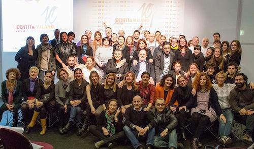 Except for a few people missing, the whole team that worked on stage and behind, during Identità Milano 2014. Directing, Claudio Ceroni of MagentaBureau (in the centre - photo by Brambilla/Serrani)