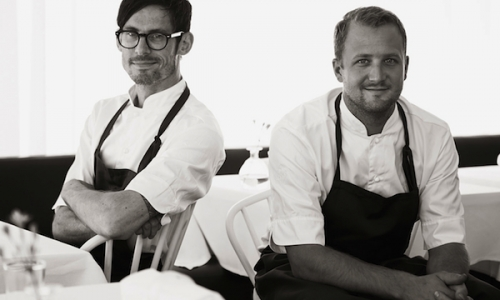 A portrait, downloaded from the website of the Gastrologik Restaurant in Stockholm, of the two chefs and owners of the restaurants which stands apart from the offer in the Swedish capital because there is no menu from which to choose from: left, glasses and dark hair, Anton Bjuhr, and right, blond Jacob Holmström. The latter is the author of an oyster that was highly appreciated during one of the gala dinners held within the Festival Bernard Loiseau in Mauritius