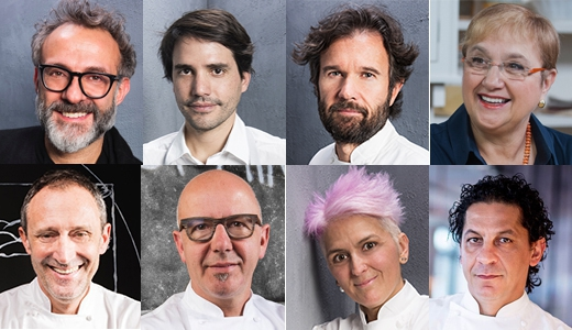 The protagonists at Identità New York 2018. From the top left corner, clockwise: Massimo Bottura, Virgilio Martinez, Carlo Cracco, Lidia Bastianich, Lello Ravagnan, Franco Pepe, Cristina Bowerman and Francesco Mazzei
