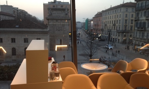 The view from the large windows of Viviana Varese and Sandra Ciciriello's new restaurant Alice, the gourmet flagship among the 15 themed restaurants inside Eataly Smeraldo, 5,000 sq. metres on 4 floors in Piazza XXV Aprile 10 in Milan. It will open to the public on Tuesday March 18th. The restaurants will be open from noon to 3.30 pm and from 7 to 11 pm