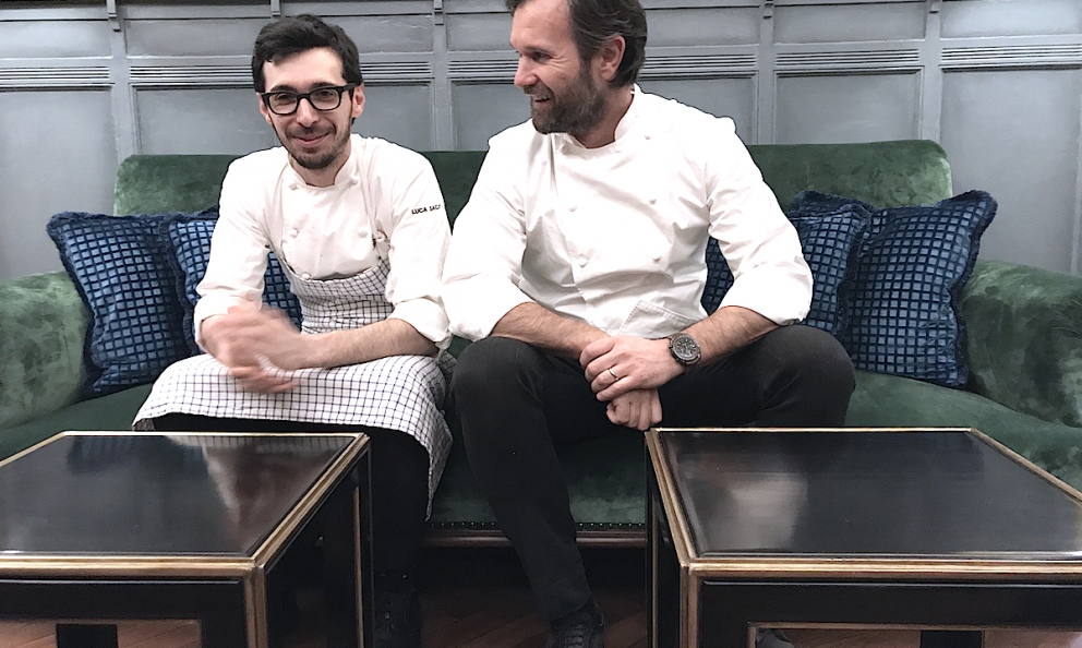 Carlo Craccowith Luca Sacchi, his precious sous-chef, laugh as they wait to begin their first service at the new RistoranteCraccoon Wednesday 21st February in Galleria Vittorio Emanuele in Milan. Photo by Paolo Marchi