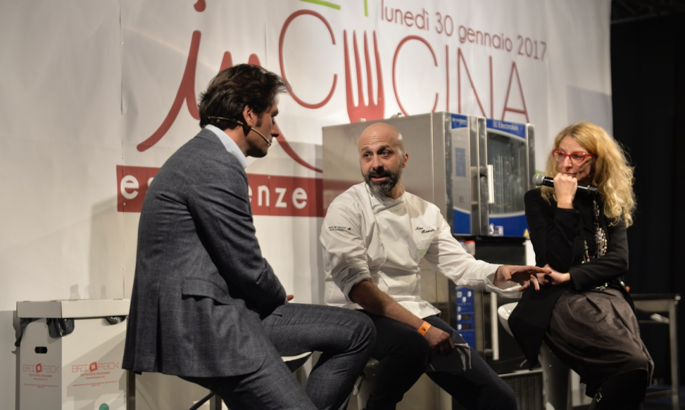 Niko Romito speaks with Massimo Di Cintio and Antonella De Santis at Meet in Cucina, the congress dedicated to the cuisine of Abruzzo that took place in Chieti