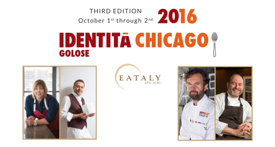 The protagonists of the third edition of Identità Golose Chicago: from left to the right Sarah Grueneberg and Giancarlo Perbellini, Carlo Cracco and Michael Tusk. Rob Wing, Executive Chef of Eataly Chicago, will partecipate at the lunch scheduled on Sunday October 2nd and leaded by Lidia Bastianich