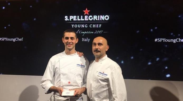 Edoardo FumagalliwithAnthony Genovese, who will mentor him in preparation of the super finals of the S.Pellegrino Young Chef (photofinedininglovers.it)