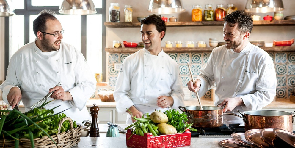AndreaMattei, to the right, with sous chefAndrea Ferrari, left, and pastry chef Diego Poliin the middle. The other sous chefSimone Di Maiocompleting the team at Meo Modo al Borgo Santo Pietroin Chiusdino (Siena) is missing