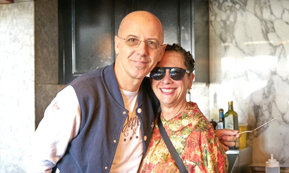A souvenir picture with Franco Pepe and Nancy Silverton inside Chi spacca, one of the four faces in Silverton's universe. Photo gallery by Luciano Furia