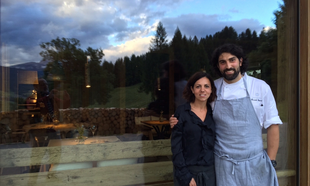 Ludovicaand Riccardo Gaspariin front of SanBrite, their new restaurant in Alverà, in Cortina d'Ampezzo
