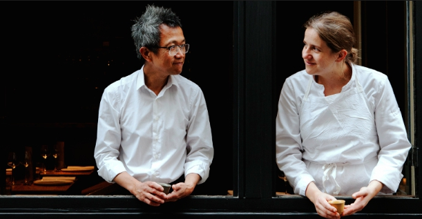 Chi Wah Chan from Hong Kong and French Adeline Grattard, husband and wife. Respectively maître/ tea sommelier and chef, have opened Yam'Tcha in 2009 in the Les Halles area, in Paris. It's so successful you need to reserve long in advance (photo from Pinterest)