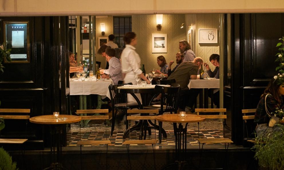 The entrance to restaurant Tondo in Rue de Cotte 29 in Paris. Sardinian chef Simone Tondo opened it on the 11th June 2016, in the same location of Petter Nilsson's Gazzetta, the pioneer of Parisian bistronomie with Iñaki Aizpitarte