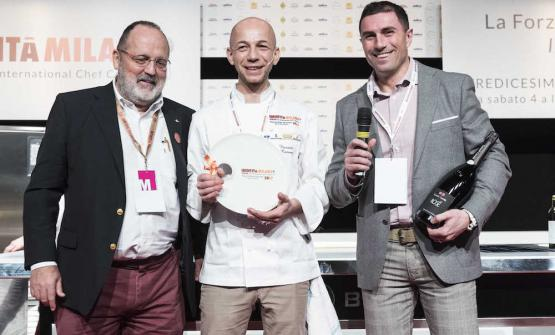 Camanini, Chef of the Year , with Paolo Marchi and Gian Luca Uccelli of Contadi Castaldi