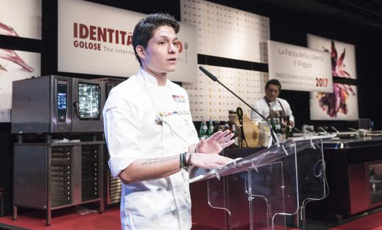 Palmiro Ocampo, 30, chef at 1087 Bistro in Lima, on the stage of Identità Milano (photo by Brambilla/Serrani)