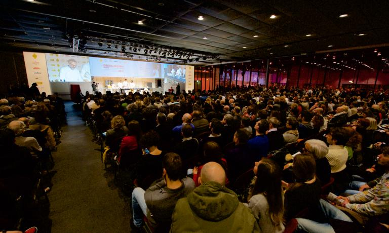 A panoramic view of the Auditorium hall during a lesson at Identit� Golose 2015 when the theme, the leitmotiv, was A Healthy Intelligence. Photos and photo gallery are curated by Francesca Brambilla and Serena Serrani and their team, who work so well each year