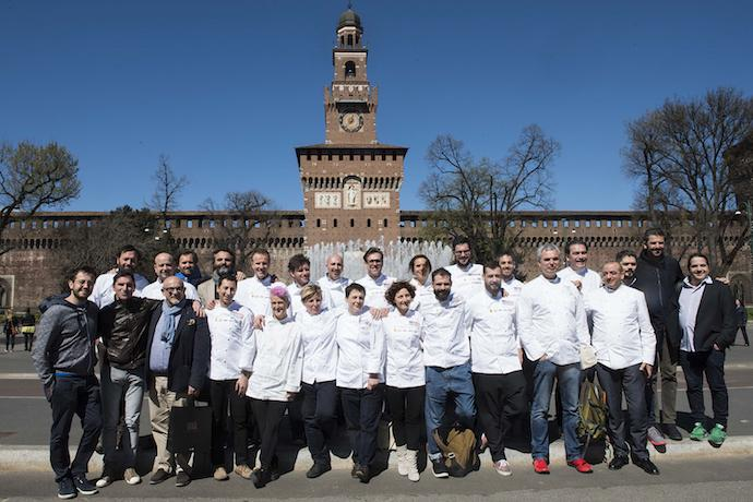 A group photo in the shade of the Sforza Castle in Milan with all the chefs who participated, yesterday morning, in the conference presenting Identit� Expo. We asked each one of them: What would like from Expo? (photo and photo gallery by Brambilla/Serrani)