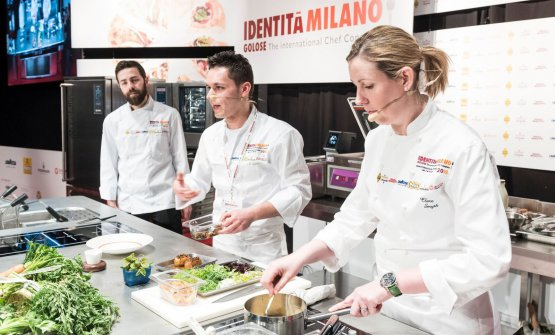 Davide Franco, Antonio Acquaviva and Clare Smyth on the stage of Identità Milano 2018 (photo Brambilla-Serrani)