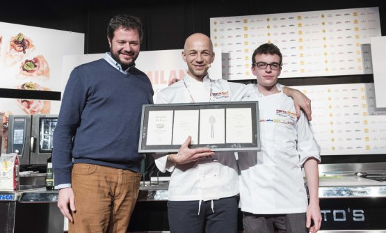 Camanini with his sous Gilles Fornoni and Marco Bolasco, who presented the lesson