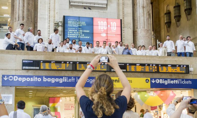 A group photo from the balcony in Stazione Centrale in Milan: the best in Italian cuisine was summoned for the presentation of 100 chef x 10 anni, a book signed by Identit� Golose. Photos by Celestina Ielmoni and Marina Siciliano from Brambilla & Serrani
