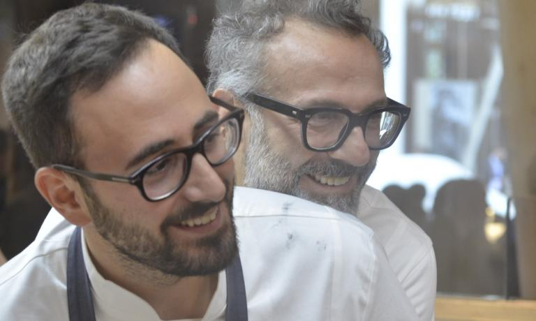 Davide Di Fabio and Massimo Bottura, in a photo by Brambilla - Serrani, in the kitchen of Identit� Expo