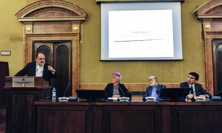 The stage: Paolo Marchi, Cristina Bowerman, Carlin Petrini, minister Maurizio Martina