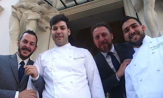 Four main characters at Enoteca La Torre in Rome: sommelier Rudy Travagli, sous Antonio Autiero, maître Luigi Picca and chef Domenico Stile