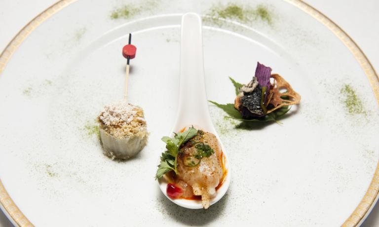 Left to right, Foie gras and kimchi, baek kimchi and bugak, the triple entr�e presented by Mingoo Kang, chef at restaurant Mingles in Seoul, on the occasion of the national day of South Korea at Expo, organised on 23rd June by the Korean Food Foundation inside hotel Principe di Savoia in Milan