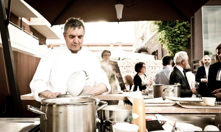 Mauro Uliassi of restaurant Uliassi in Senigallia (Ancona). The chef from the Marche will be cooking with Luigi Dariz of restaurant Da Aurelio in Colle Santa Lucia (Belluno) on Saturday July 12th during the first edition of Identit� Cortina: 80 euros, reservations on +39.0437.720118. The same night, Massimo Bottura will cook together with Riccardo Gaspari at agritourism El Brite de Larieto in Cortina (reservations on +39.368.7008083). On Sunday 13th, signature picnic (photo from facebook)