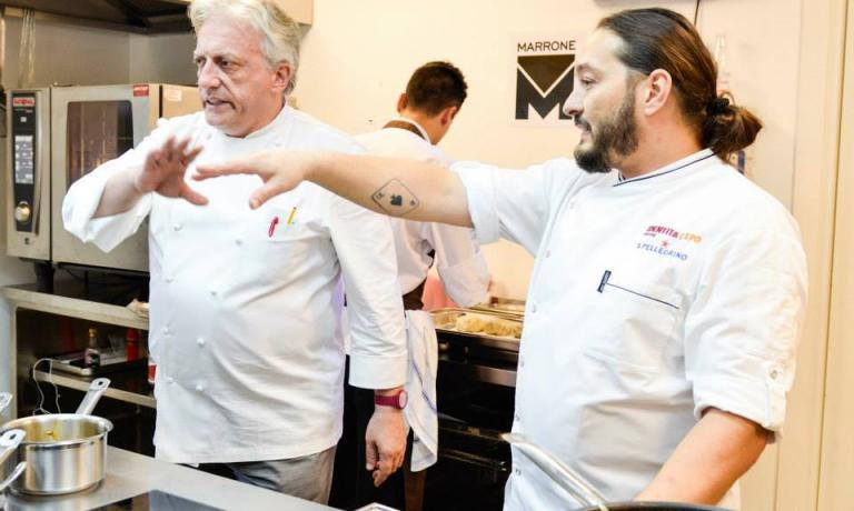 Davide Scabin and Giuseppe Rambaldi in the open view kitchen of Identità Expo (photo by Brambilla/Serrani)