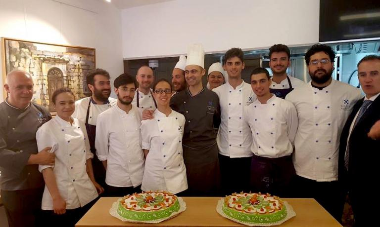 The team from Nosco in Ragusa Ibla, the school founded by Peppe Barone (in the photo, the first to the left), in a moment of relax in Gozo, the second largest island in the archipelago of Malta. The students from the Scuola mediterranea di enogastronomia were asked by the country's authorities to cook and give value to the under-used agricultural heritage of the island