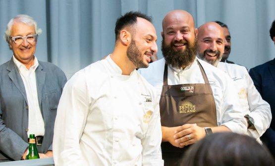 Passing of the baton between the chef at Identità ExpoDomingo Schingaro(right) andAlessandro Rinaldi,new resident chef in Via Romagnosi
