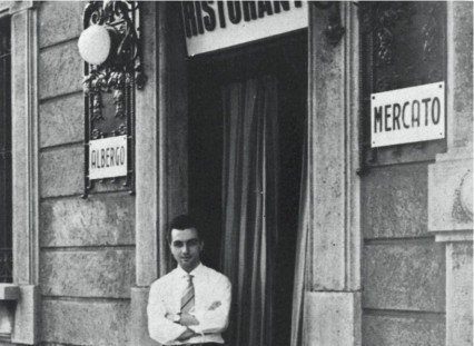 Young Marchesi in front of the entrance to the family restaurant, Al Mercato in Via Bezzecca, in Milan