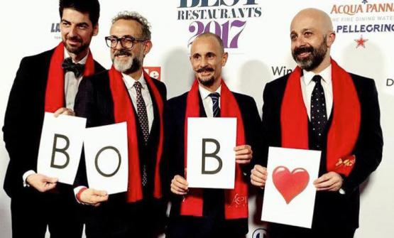 Before the ceremony, Alajmo, Bottura, Crippa and Romito remembered Bob Noto with a smile. The creative artist and gourmet from Torino passed away a few days ago (photo by Paolo Marchi)
