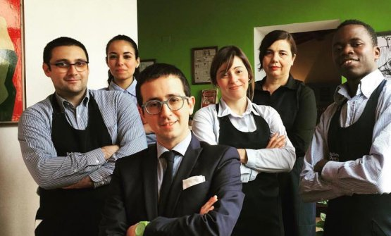 The dining room staff at S'Apposentu: left to right Francesco Tuveri, Patrizia Atzori, Domenico Sanna, Martina Moreal (now at Cucina.eat), Rina Petza and Djime Sidibe
