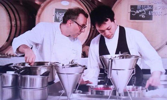 A memorable photo of Massimo Botturaand Yoji Tokuyoshi,when the latter was sous chef at Osteria Francescana