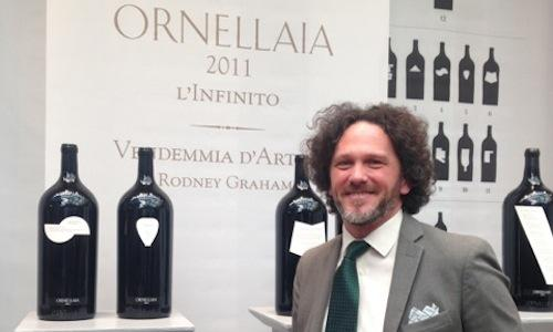 Alex Heinz, oenologist at Ornellaia, at Sotheby's auction house in Milan, on the occasion of the presentation of the 2011 vintage of Vendemmia d'Artista – L'Infinito. Art and wine are ever more intertwined in the strategies of the Marchesi de' Frescobaldi family