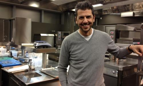 Andrea Berton in the kitchen of his new restaurant in Viale della Liberazione 13, in the new area of Porta Nuova Varesine in Milano (MI). It will be open to the public as of December 13th. �My ideas remain�, he explained to Identit�'s staff, �but I want it to be less rigid, more fresh, natural, free. There will only be a few elements, paired in an innovative way�. (photo by Carlo Passera)