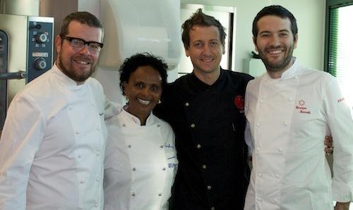 Left to right, Eugenio Boer (chef at Fishbar de Milan in Milan), owner Mollie Ahlstrand (Trattoria da Mollie in Montecito, in California), Christian Milone (Trattoria Zappatori in Pinerolo, Torino) and Giuseppe Iannotti (Kresios in Telese Terme, Benevento) in a shot taken during the Californian stop of Aria di Alba, a world tour organised to make great dishes and products known