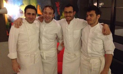 The protagonists of the 8-hand dinner which took place at Daniel in Via Castelfidardo 7 in Milan, tel. +39.02.63793837. Left to right, patron Daniel Canzian, Marco Vigan� of restaurant Aux Anges in Roanne (France) and Cesar and L�o Troisgros of Maison Troisgros also in Roanne, 3 uninterrupted Michelin stars for the past 46 years