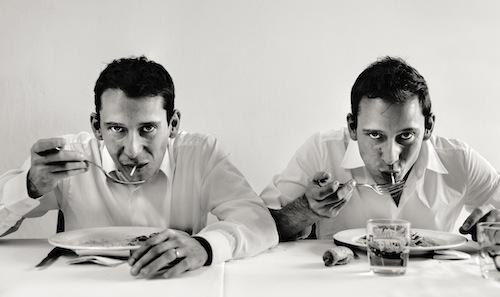 Andrea and Luca Garelli, twin brothers and waiters at Osteria Francescana in Modena, portrayed by Swedish photographer Per-Anders Jörgensen, author of the reportage-book Eating with the chefs, published by Phaidon. Using Jörgensen's words this is a tribute to all the people who work 18 hours per day in order to satisfy us clients with innovative dishes