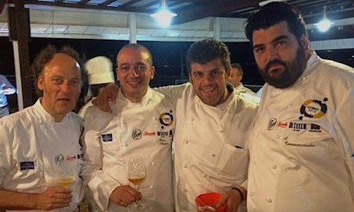 Four of the chefs that animated the dinner-marathon at restaurant O'Saracino in Marina Aequa in Vico Equense (Naples), on the second night of Festa a Vico, organised by Gennaro Esposito and concluded yesterday. Left to right, Moreno Cedroni from Senigallia, Pino Cuttaia from Licata in Sicily, Ilario Vinciguerra from Gallarate and Antonino Cannavacciuolo from lake Orta in Piedmont