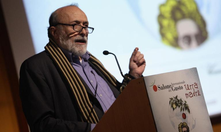 Carlo Petrini, 65 years old, founder of Slow Food, presents the tenth edition of Salone del Gusto, an event that starting tomorrow until October 27th will attract thousands of food lovers to the Lingotto in Torino (photo credits www.educazionesostenibile.it)