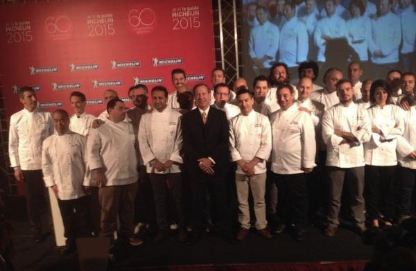 A group photo with the new Michelin starred chefs, this morning in Milan's Principe di Savoia hotel. On the stage with Michael Ellis, the international director for the Michelin guides, in the centre of the photo, 2 chefs who reached the second Michelin star (Francesco Sposito of Taverna Estia and Giuseppe Mancino of Piccolo Principe in Viareggio) and 29 more holders of a new star