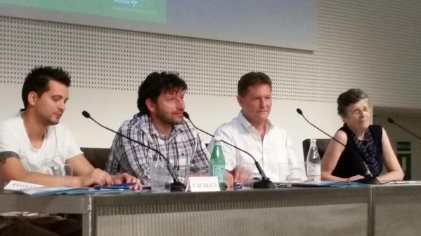 """Food and emotions, health and quality of life in a perfect balance"" is the title of the meeting organised by the Istituto Nazionale dei Tumori (the National Institute for Tumours, Int) on Monday 13th July at the Expo's Conference Center. Important chefs such as Cesare Battisti, Chicco Cerea (in the photo, in the middle) and Moreno Cedroni were asked to participate. Davide Scabin had already begun to research on this topic and spoke about it during his lesson at Identit� Milano, in February 2014"