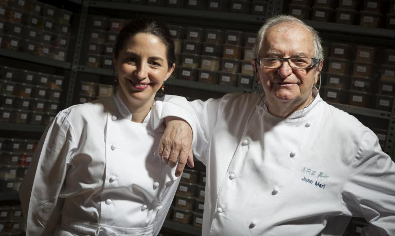 "Elena and Juan Marì Arzak in their ""Banco de Sabores� (photo by Coconut)"