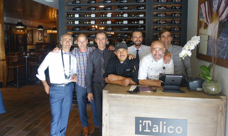 Maico Campilongo, first from the left, with the team at iTalico (starting from Campilongo: Stefano Raineri, Franco Campilongo, Jose Manuel, Michael Oliverio, Kristyan Dangelo, Giuseppe Errico), the new restaurant in Palo Alto, California, entirely dedicated to the best Italian pasta, from Monograno Felicetti to Rustichella d'Abruzzo. iTalico (we've already written about their successful pizzeria Terùn) is a nice example of how you can offer Italian high quality abroad. Maico Campilongo tells us about his enterprise in this piece for Identità Golose